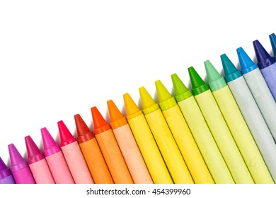 row of multicolored wax crayons