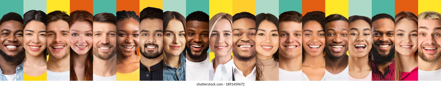 Row Of Multiple Diverse People Faces In Collage On Colorful Backgrounds. Happy Multiracial Men And Women Expressing Positive Emotions. Human Headshots Collection. Panorama