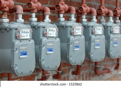 Row of Natural Gas Meters at Apartment Complex