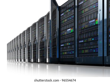 Row of network servers in data center isolated on white reflective background