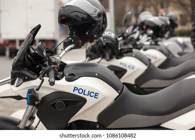 Row of new police motorbikes on the street