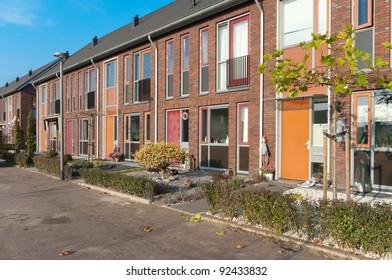 a row of new terraced houses in the Netherlands
