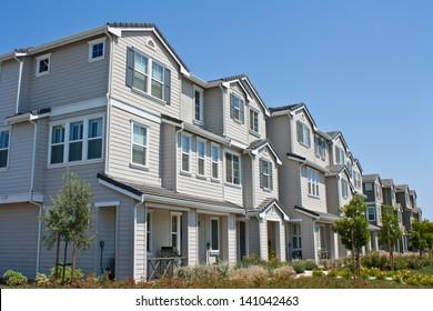 A row of new townhomes / condominiums near San Jose, California.