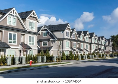 A row of a new townhouses in Richmond, British Columbia
