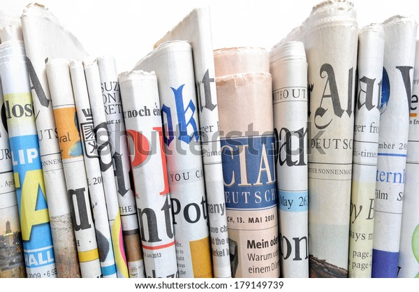Row of newspapers