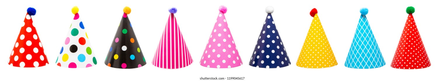 Row of nine colorful festive birthday party hats with different patterns and pom-poms