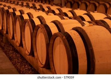 Row of oak wine barrels