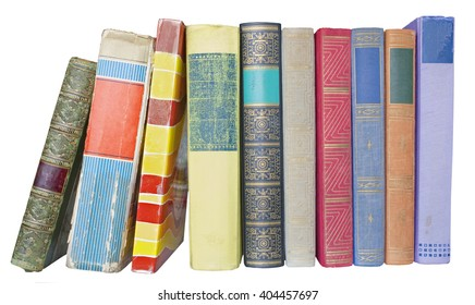 row of old books,isolated on white background