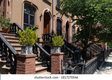 Row of Old Brownstone Homes in Bedford-Stuyvesant in Brooklyn of New York City along an Empty Sidewalk