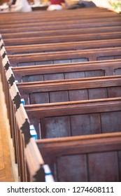 A row of old church pews UK England, religion