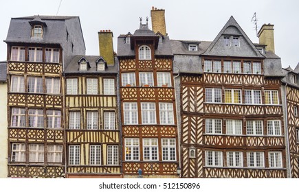 Row Old half-timbered buildings in Rennes, Brittany, France