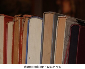 Row of old, hardcover educational vintage first edition books and expensive collectible novels
