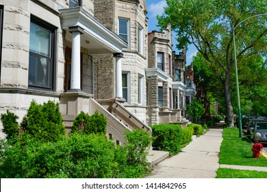 Row of Old Homes in Logan Square Chicago with Stairs