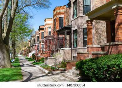 Row of Old Homes in the North Center Neighborhood of Chicago