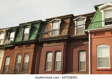 Row of old house in city of Toronto, Canada