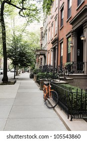 Row of old houses at Brooklyn Heights, New York City, USA