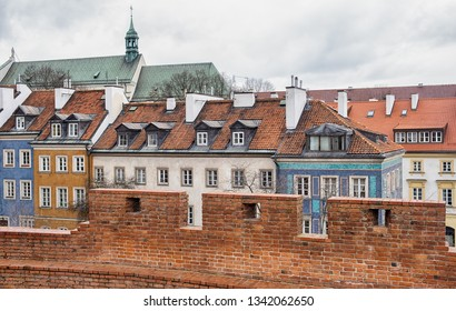 Row of old houses in Warsaw, Poland.
