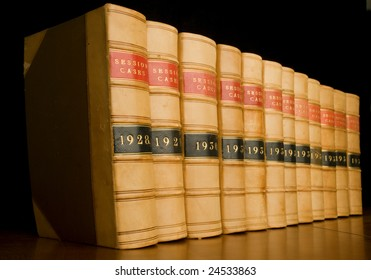 A row of old law reports.