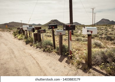 Row of old U.S.mail boxes along Route 66, California, USA