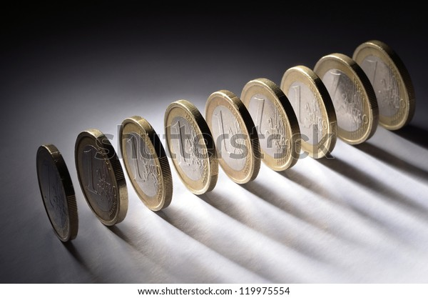 A row of one euro coins