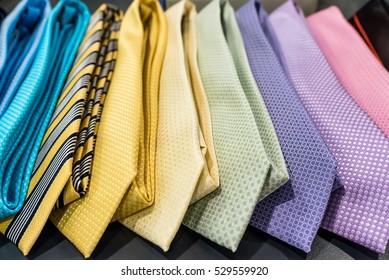 row of pastel neckties