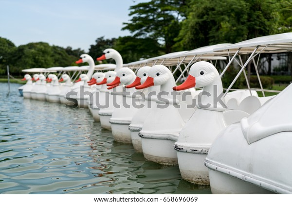A row of pedal boats for rental by a lake