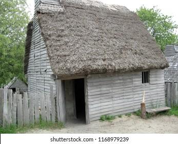 row of pilgrim/puritan houses