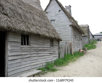 row of pilgrim/puritan houses