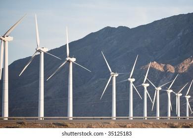 Row of Power Generating Wind Turbines
