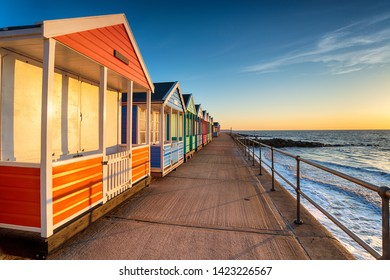 A row of pretty beach huts at Southwold on the Suffolk coast