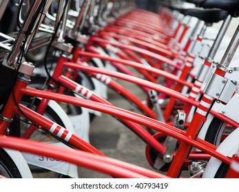 Row of public bicycles in Barcelona, Spain
