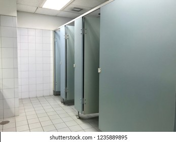 Row of public restroom