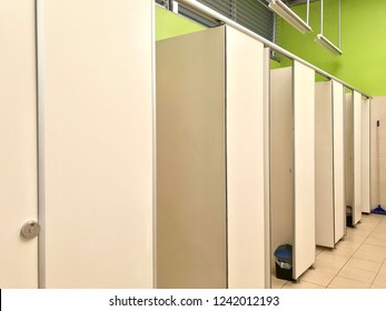 Row of public toilet, partition installation in the restroom