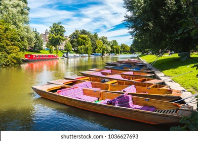 A row of punts on a bright summer's day, Cambridge City Centre, England.