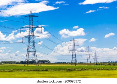 Row of Pylons in the English countryside