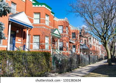 Row of Red Brick Homes in Wicker Park Chicago
