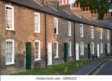 Row of red brick terraced houses
