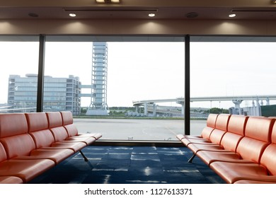 row of red chair at airport, shot in asia