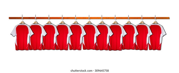 Row of Red Football Shirts - No Numbers