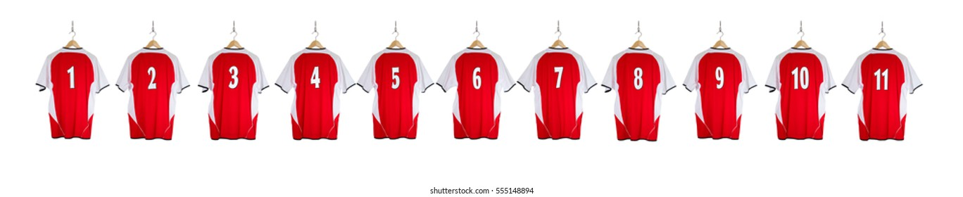 Row of Red Football Shirts numbered 1-11