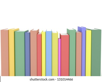 Row of rendered books isolated on white