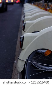 Row of rental bikes in Milan, Italy