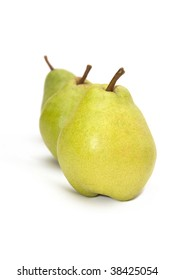 row of ripe pears isolated on white background
