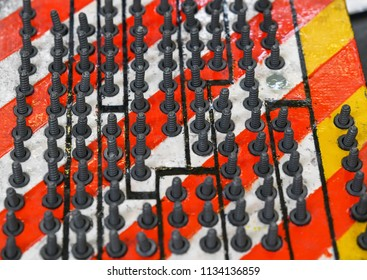 Row of rivets of aluminum for sports car