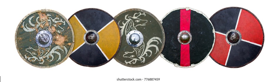 A row of round wooden shields.