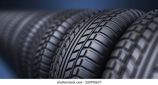Row of rubber tire 3D, on blue background