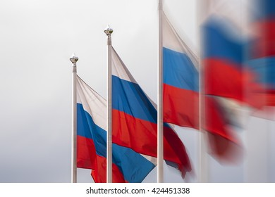Row of Russian flags  - blurred effect
