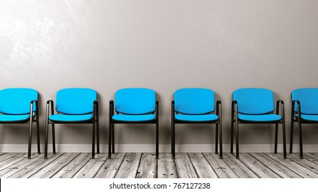 Row of Same Chairs on Wooden Floor Against Grey Wall with Copyspace 3D Illustration