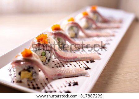 Row Selective Focus Hamachi Sushi Roll Stock Photo Edit Now