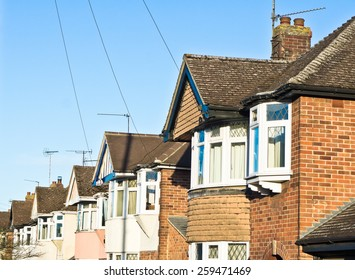 Row of semi-detached suburban houses in the UK with retrom filter applied